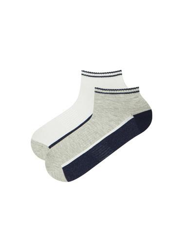 Penti Sıyah-Beyaz-Grı Mel E Sporty Stripe 2 Li Patik Çorap Siyah